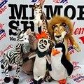 6 ШТ./КОМПЛ. 25 см Мадагаскар Лев и пингвин и жираф Фаршированные Плюшевые Игрушки Куклы