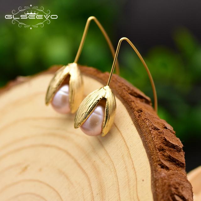 GLSEEVO Natural Freshwater Pearl Drop Tulip Flower Earrings 925 Sterling Silver Dangle Earrings kolczyki Damskie Handmade GE0100