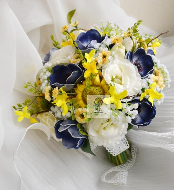 Handmade bridal bridesmaid wedding bouquet white yellow blue anemone handmade bridal bridesmaid wedding bouquet white yellow blue anemone spring flowers rose bride holding flowers home mightylinksfo