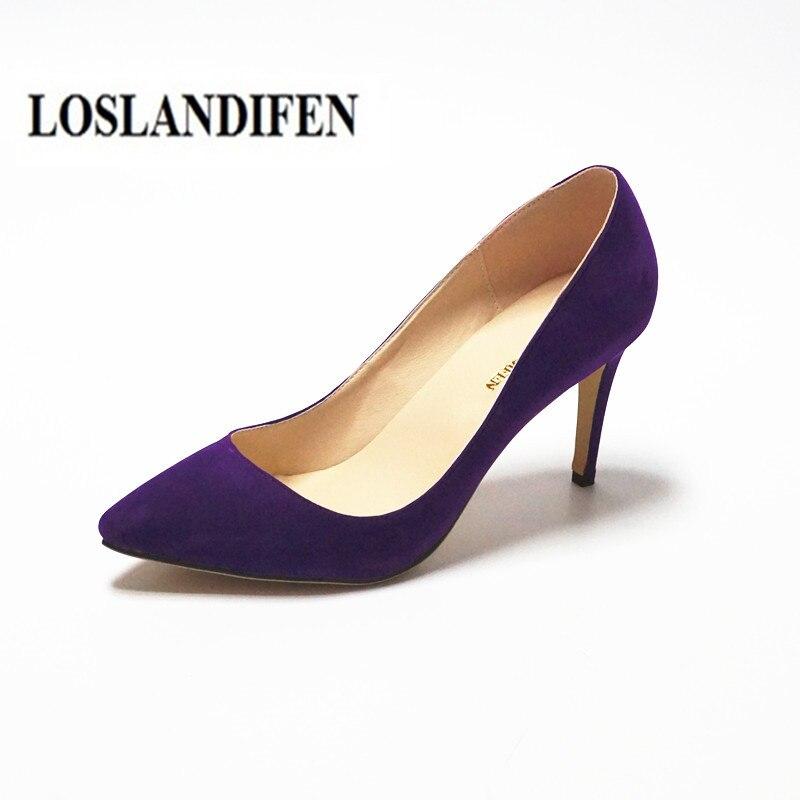 LOSLANDIFEN Women's Purple Shoes Sexy High Heel Summer Spring Stiletto Shoes Pointed Toe  6cm 8cm 11cm Escarpins Femme Size 42