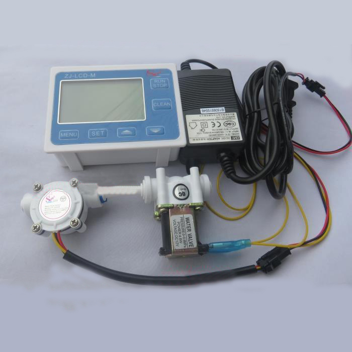 LCD Display Water Flow Controller with Flow Sensor Solenoid Valve and Power Adapter 1/2