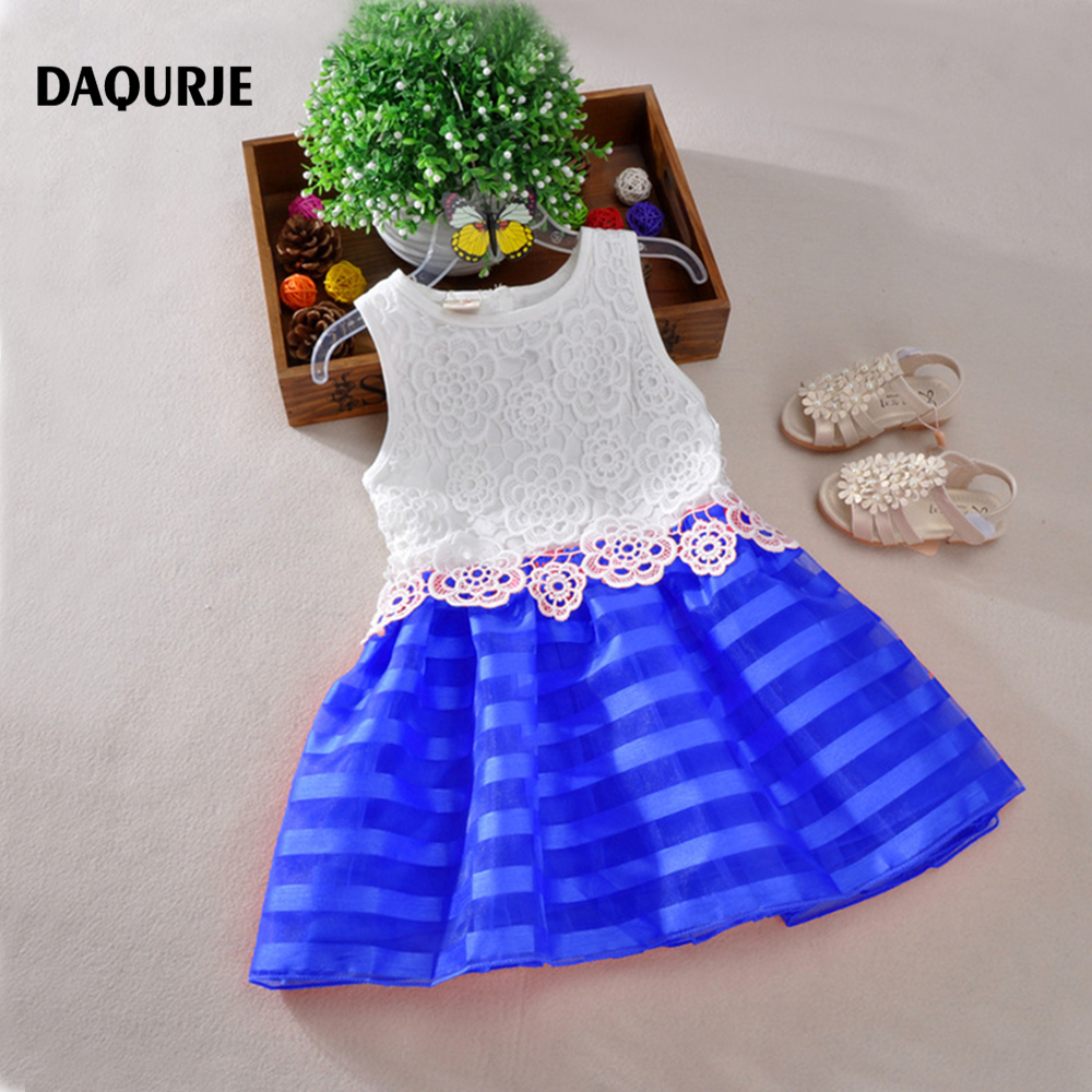 2016 Summer Girls Dresses Sleeveless Lace Crochet Tutu Princess Dress Kids Girl Party Clothes Children Costume Vetement Fille