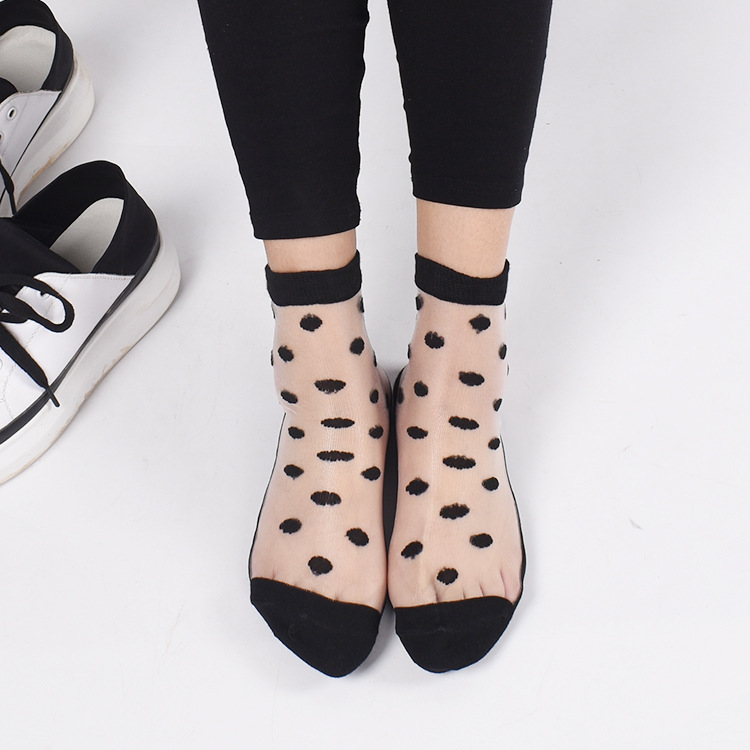 1 Pair Fashion Lace Elastic Ankle   Socks   For Women Sheer Mesh Glass Silk Ultrathin Transparent Crystal   Socks   Summer Short   Socks