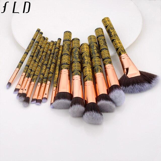 FLD professional makeup brushes Blush powder eye shadow eyeliner Brush set bohemia fan face brushes 4