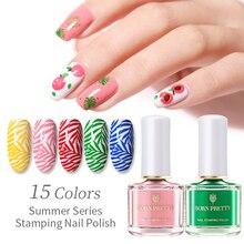 BORN PRETTY Stamping Polish Summer Series Nail Polish Lacquer Green Pink Nail Art Plate Printing Stamp Polish Nail Latex Lacquer цена