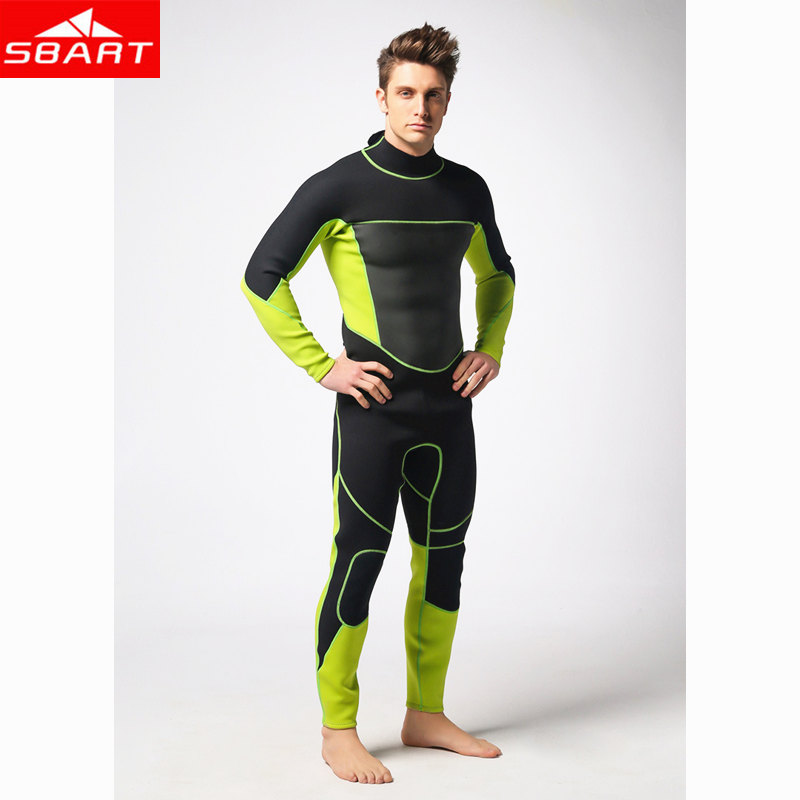 SBART 3mm Neoprene Scuba Dive Wetsuits For Men Spearfishing Wet Suits Surf Equipment One-Piece Back YZZ Zipper Wetsuits sbart 303