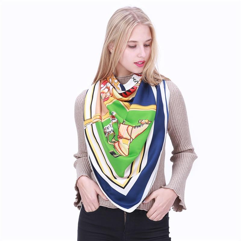 POBING Luxury Brand 100% Twill Silk Scarf Woman Swift Horse Wraps - Apparel Accessories - Photo 4