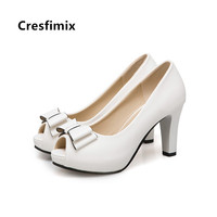 Cresfimix women fashion high quality plus size 34 to 43 peep toe high heel shoes lady casual black bow tie party pumps a5456