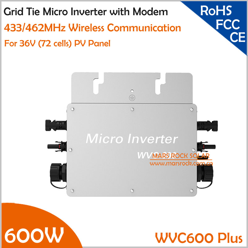 With Wireless Communication Function Wateproof 600W Grid Tie Micro Inverter Matched 2 Meter AC Connection Cable for 36V PV Panel 22 50v dc to ac110v or 220v waterproof 1200w grid tie mppt micro inverter with wireless communication function for 36v pv system