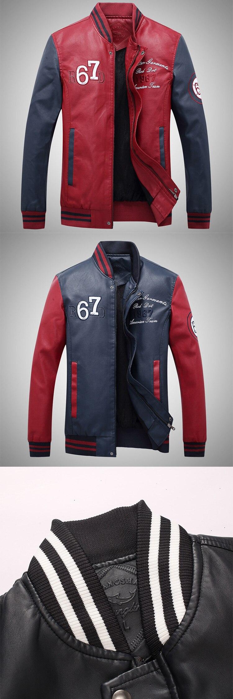 HTB14V GbG5s3KVjSZFNq6AD3FXaB New Men Pu Faux Leather Jacket 2019 Brand Embroidery Baseball Jackets Male Casual Luxury Winter Warm Fleece Pilot Bomber Coat