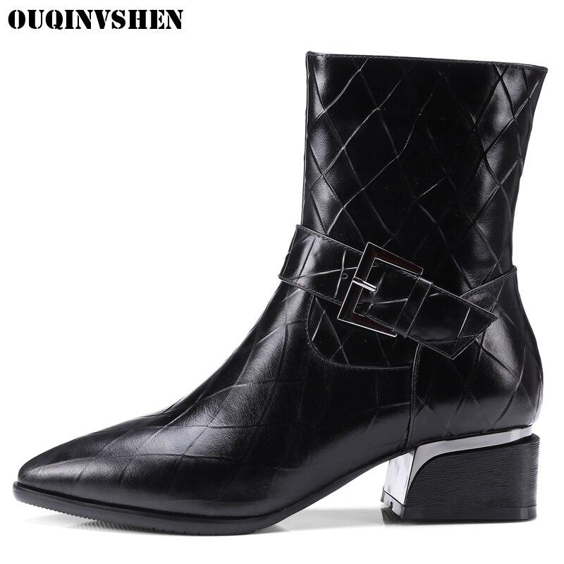 OUQINVSHEN Pointed Toe Square heel Women Boots Mid Heels Ladies Ankle Boots Fashion New Winter Short Plush Buckle Women's Boots очиститель кожи astrohim с кондиционером 500 мл ас 855