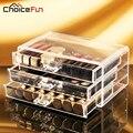Choice fun maquillaje caja de almacenamiento de acrílico maquillaje organizador de 3 cajones de plástico lápiz labial cosméticos esmalte de uñas de almacenamiento sf-1005-1