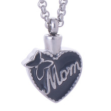 316L Stainless Steel Mom Cremation keepsake High Quality Stainless Steel Heart Pendant Necklace Miss Mom LY006