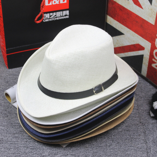 90c4c6b28 US $6.29 30% OFF|Summer Paper Straw Jazz Hat Cap Casual Western Cowboy Hats  with Belt Buckle Band Wide Brim Travel Sunhat Beach Hat for Men Women-in ...