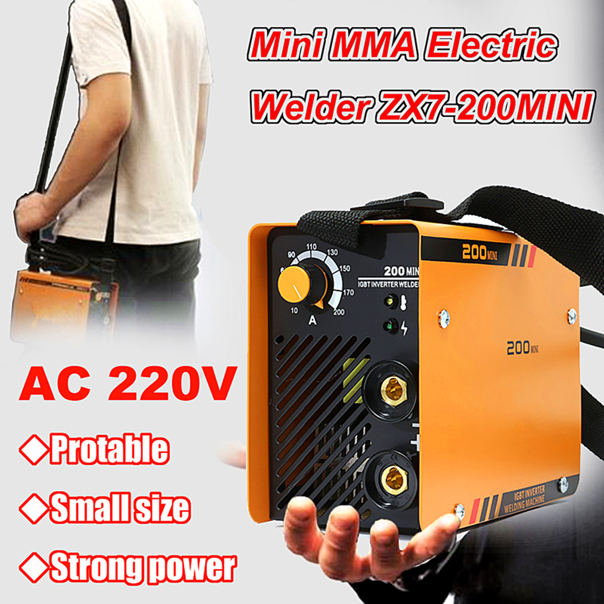 New ZX7-200MINI 5.5KW Handheld Mini MMA Electric 220V 10-200A Inverter ARC Welding Machine Tool mos tube 220v welding inverter driven plate you have triggered arc zx7 tig200