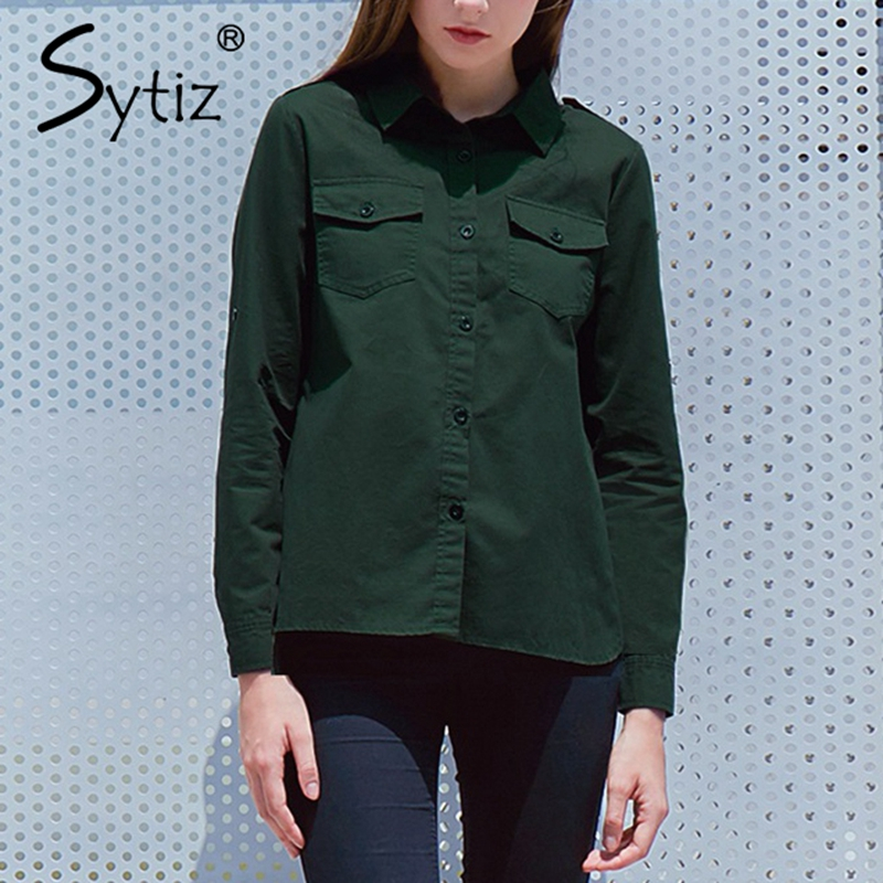 Sytiz Pocket Dark Green Blouses Women 2017 Autumn Winter Long Sleeve Tops Turn down Collar Vintage