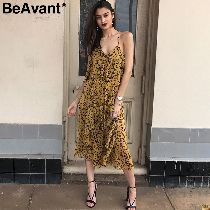 BeAvant Sexy ruffle backless chiffon   jumpsuit   women Cold shoulder print jumsuit 2018 Summer strap elegant playsuits