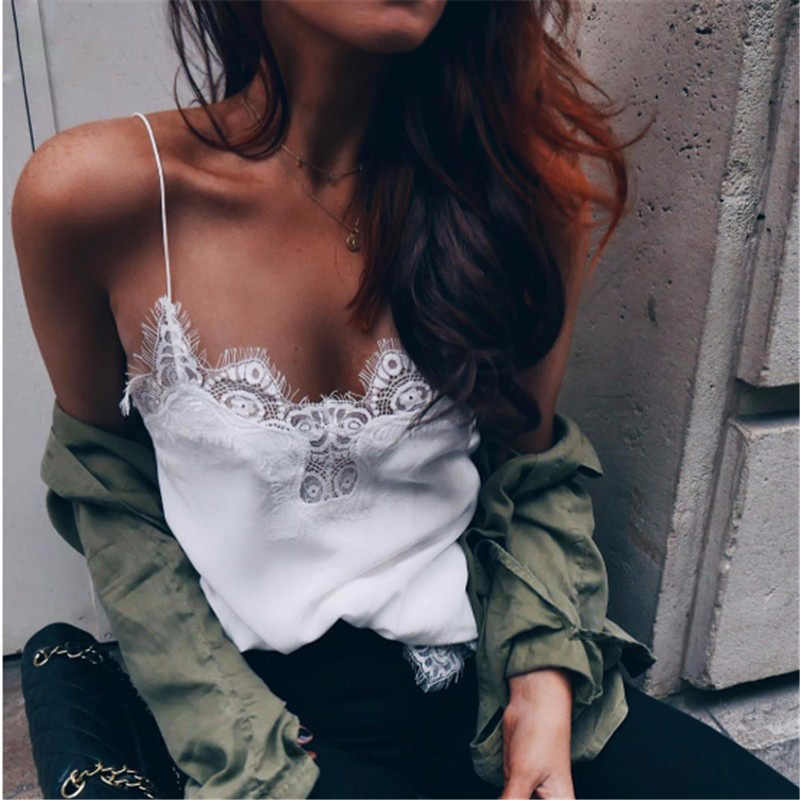 2019 Womens Lace Sexy Vest Fashion Camisole Cotton Sleeveless T-Shirt Comfortable Casual Women's Summer Clothes Chiffon Top