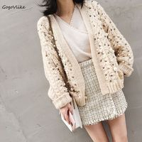 Luxury Pearls Beading Casual Knitting Cardigan Female Loose Kimono 2018 Spring Beige V Neck Sweaters Long