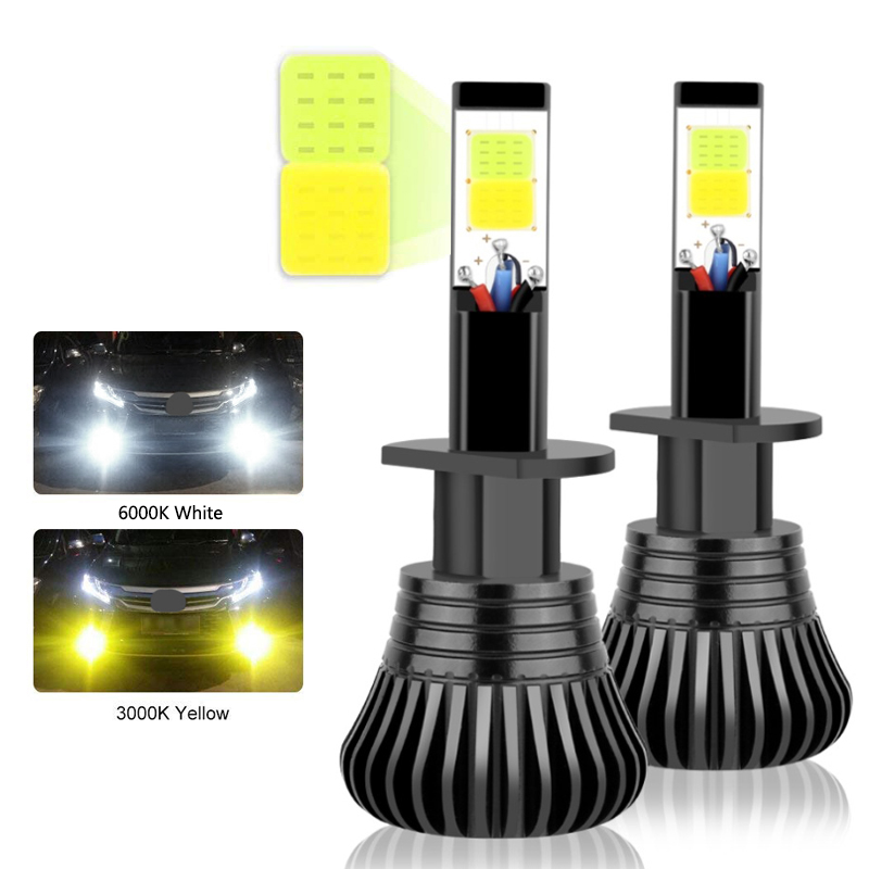 Pair <font><b>COB</b></font> H1 H4 H7 H8 H11 9005 Driving 6000K White 3000K Amber Yellow Car Fog Lights Bulbs Dual Color Auto <font><b>LED</b></font> Lamps For Bmw e46 image