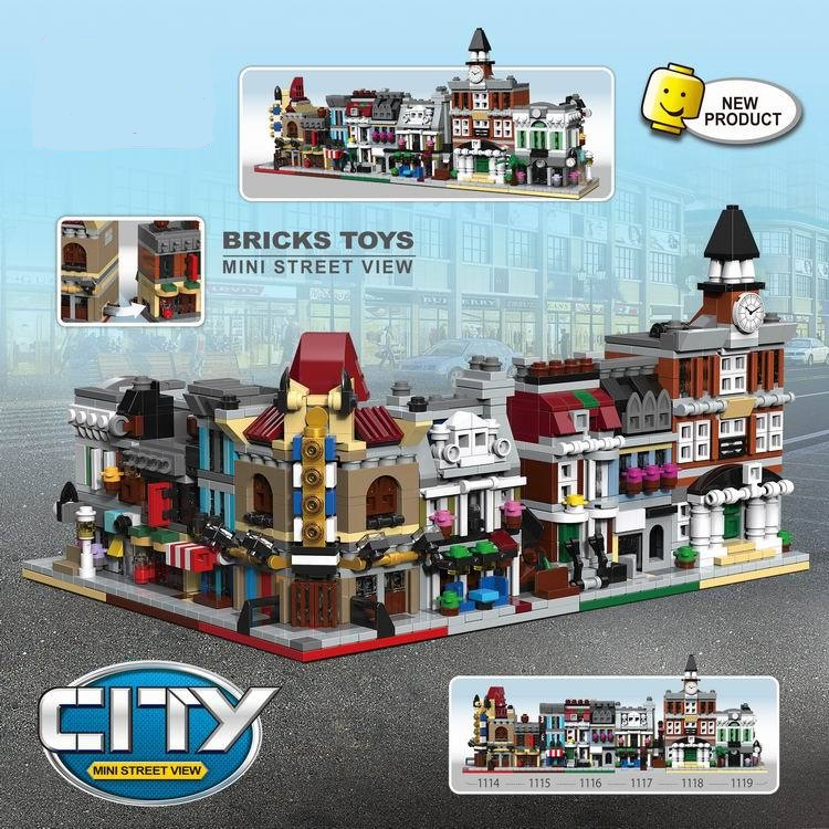 6 in 1 Model building kit compatible with lego city mini Creators serie town hall Brick Bank Model Building City street 1000+pcs loz mini diamond block world famous architecture financial center swfc shangha china city nanoblock model brick educational toys
