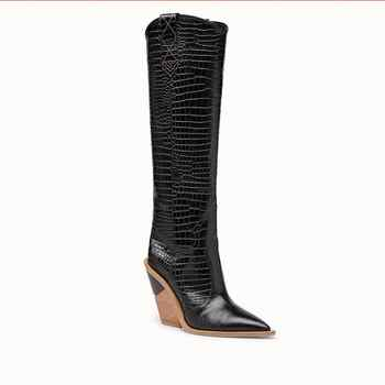 Sexy Embossed Runway T Show Knee High Boots Pointed Toe Women Wedges Strange High Heel Knight Boots Western Cowboy Long Boots