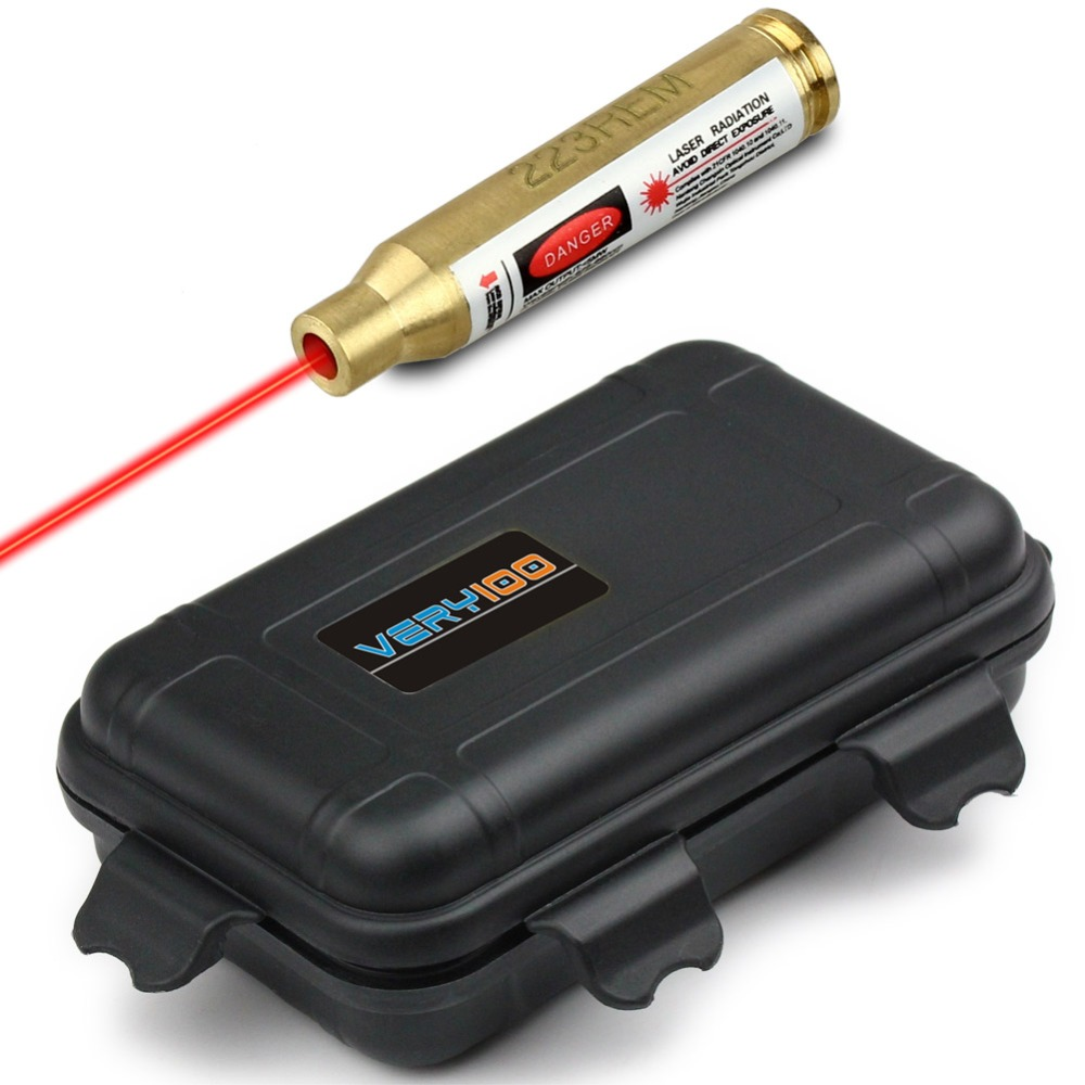 223 rem ottone cartuccia laser rosso bore sight sighter + very100 custodia impermeabile