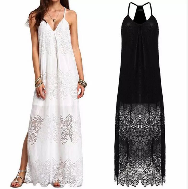 2018 Summer women s Europe new large size lace v-neck splicing condole sexy  vest dress. US  15.50. 2019 spring women s fashion long ... 4ce24ec7f168