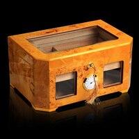 Желтый визуальный окно глянцевая отделка древесины хьюмидор Кабинета большой Ёмкость коробка для хранения W/Блокировка гигрометр увлажнит