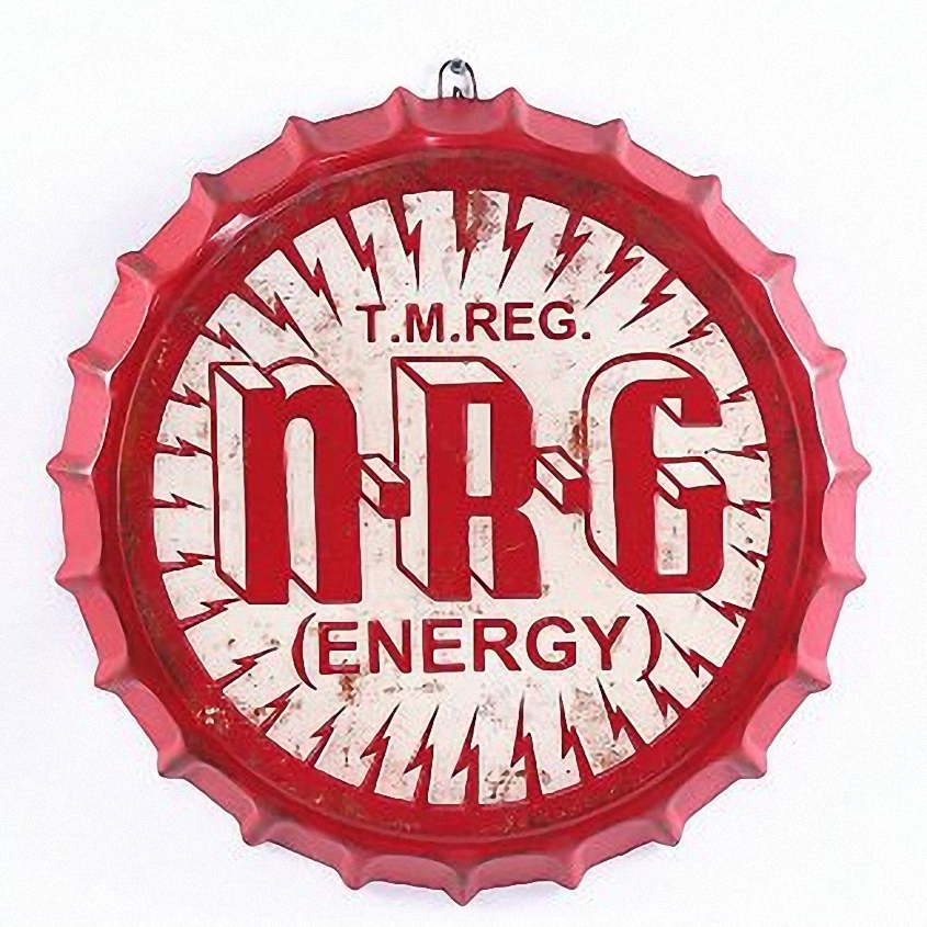 N.R.G ENERGY Large 3D Beer Cover Tin Sign Logo Plaque Vintage Metal Painting Wall Sticker Iron Sign Bar KTV Cafe Decor 42X42 CM