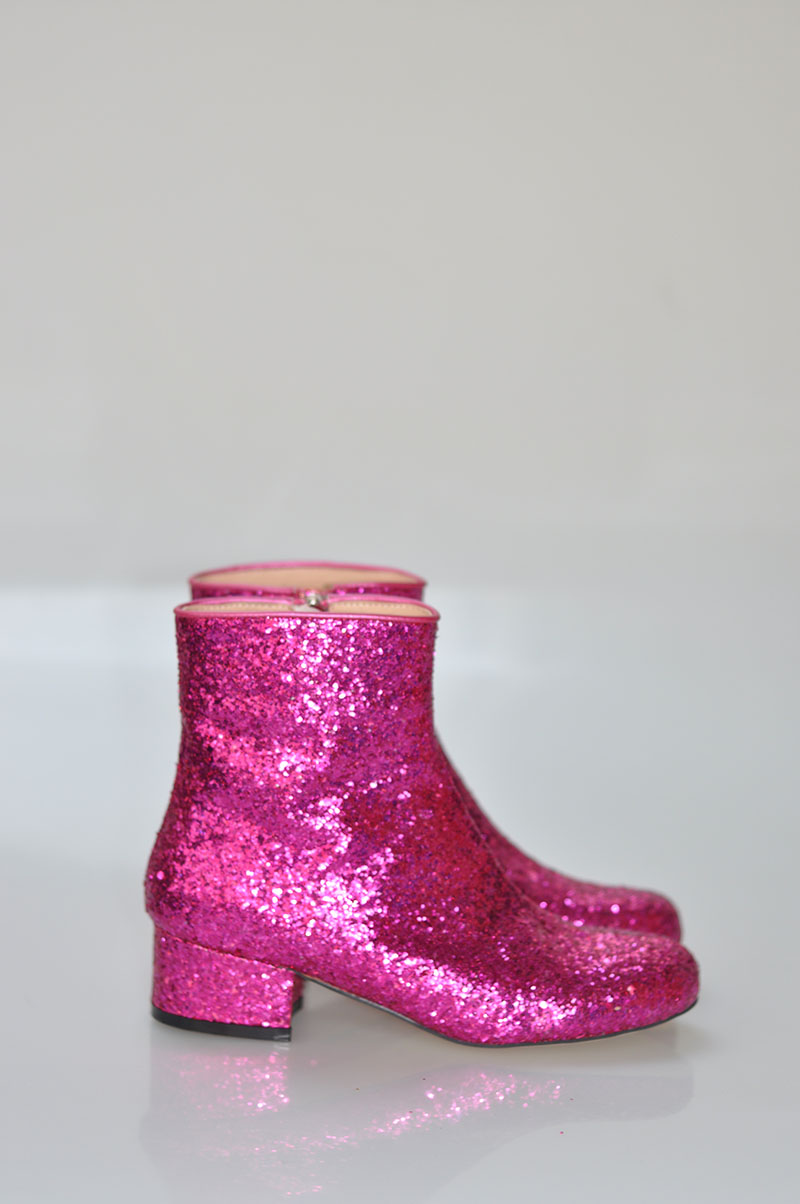 Round Toe Ladies Zipper Martin Boots Hot Pink Bling Glitter Women Fashion  Ankle Boots Low Heel Spring Sexy Boots Size 40-in Ankle Boots from Shoes on  ... 6581c572c1a2