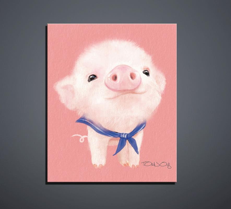 Arte de la pared del cartel Animales lindos de la historieta Pintura - Decoración del hogar