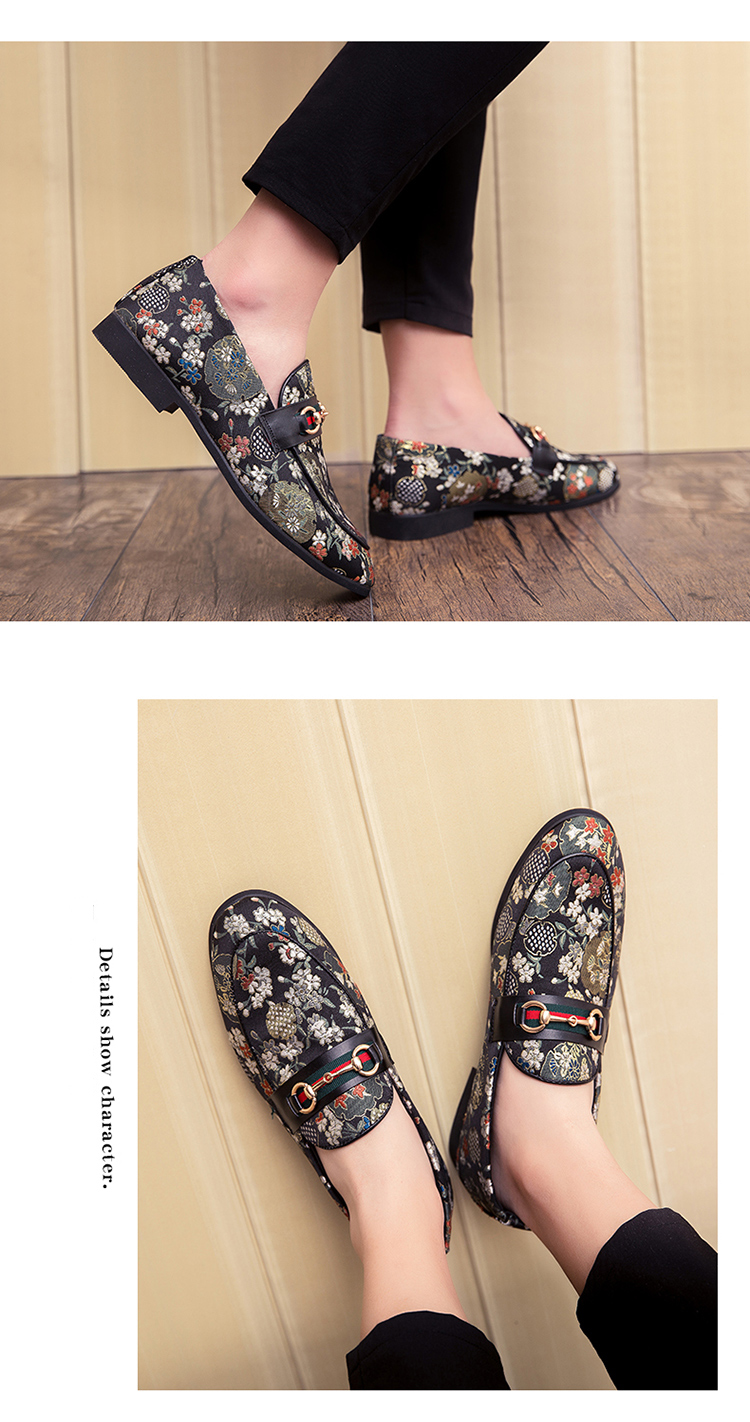 2019 New Brand Formal Shoes Men Leather Shoes Flower Embroidery Slip On Lazy Driving Shoe Office Loafers Mens Canvas Shoes 13