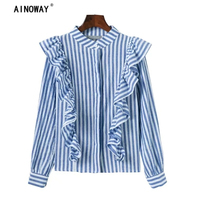 2018 Spring New Fashion Women Long Sleeve Ruffles Knited Shirt Ladies Blouse Shirts Size S M
