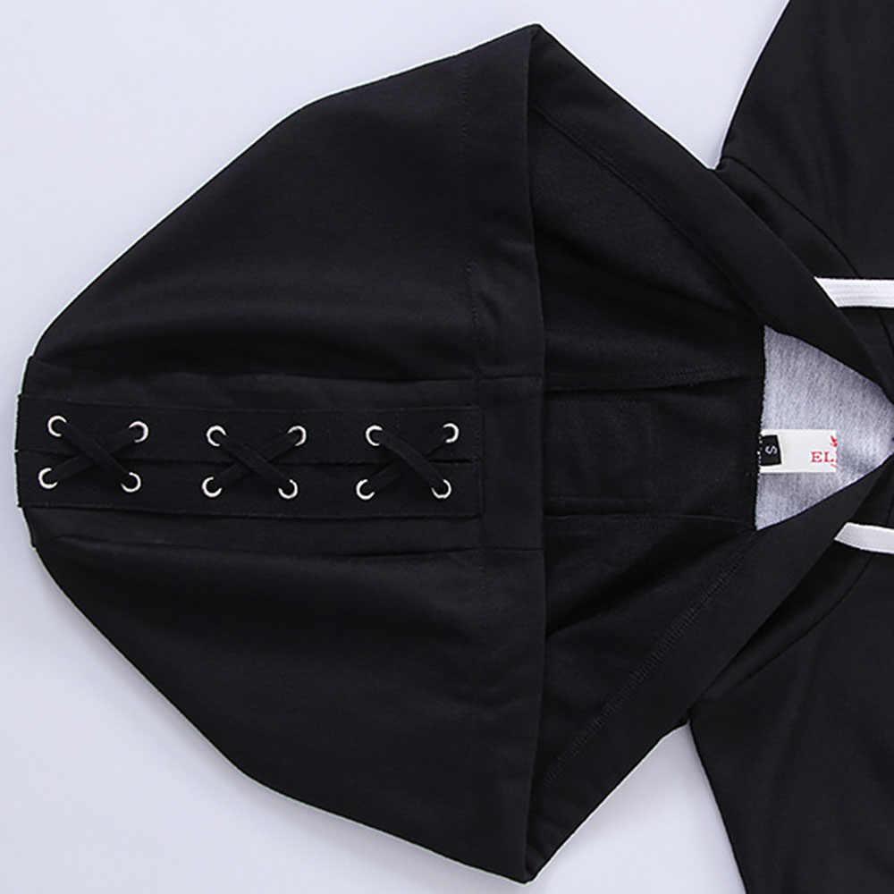 Rosettes โกธิค Punk ผู้หญิง Hoodie Sweatshirt Black Skull Wing พิมพ์ Zip Up หลวม LACE-Up Casual PLUS ขนาดความมืด street Hoodie
