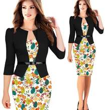 Autumn Patchwork Floral Dress – Elegant for Business and Party