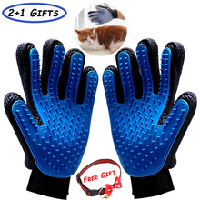Pet Deshedding Brush Grooming Gloves Soft Silicone Dog Cat Hair Removal Glove Bath Massage Combs cat grooming glove mascot pet hair glove removal brush mitts deshedding brush combs cat dog combs supplies bath cleaning massage