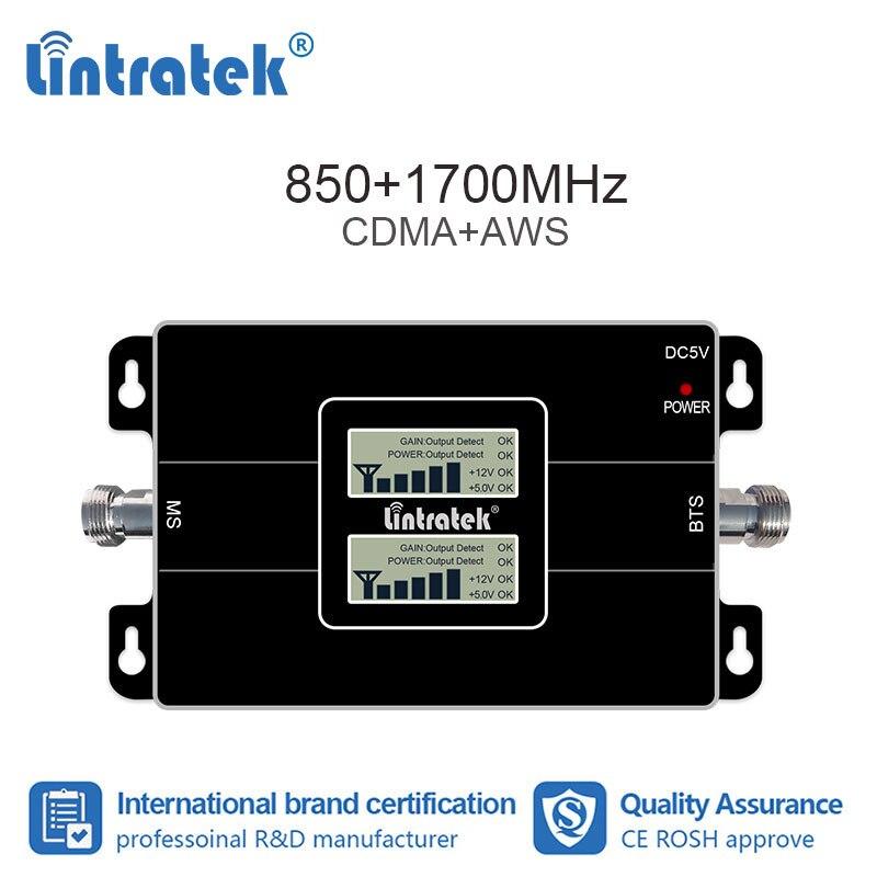 Lintratek 2G 4G 850 1700 MHz Signal celulaire répétiteur CDMA 850 AWS 1700 Booster GSM LTE B4 B5 amplificateur pour mexique 65 dB #7 + 1