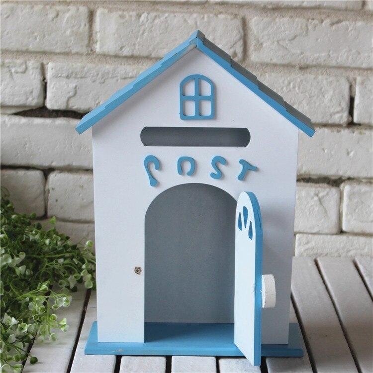 Винтажные настенные полки Organizador, декоративная деревянная коробка, настенный дом, держатель для хранения букв, вешалка для букв, держатель с... - 4