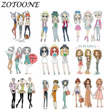 ZOTOONE Iron on Transfers for Clothing 1pcs Fashion Girl Patch Morale Patches Thermo Stickers Application E
