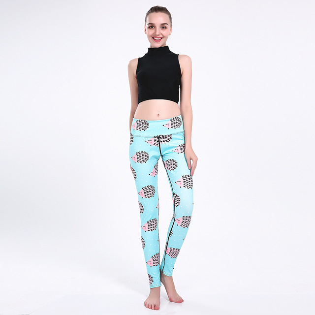 769f3747513 New arrival Fashion 3D Women Digital Blue hedgehog Print Pant Slim High  Waist Pants Drop ship Plus Size