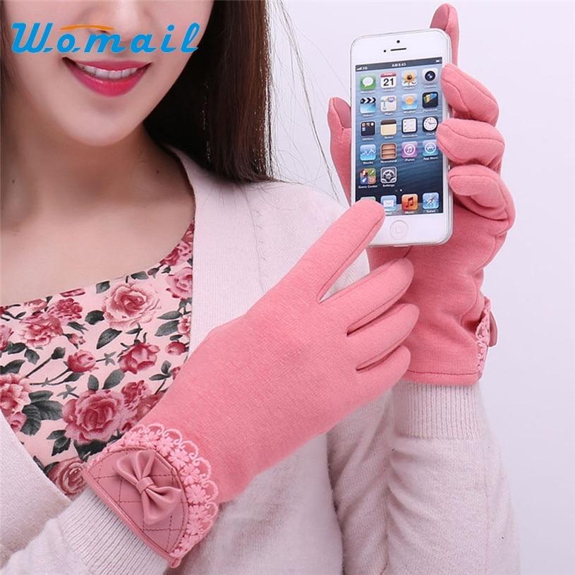 Womail gloves winter women fashion outdoor ladies Bow Lace gloves Screen Warm Wrist Gloves Mitten 2017 Gift 1pair