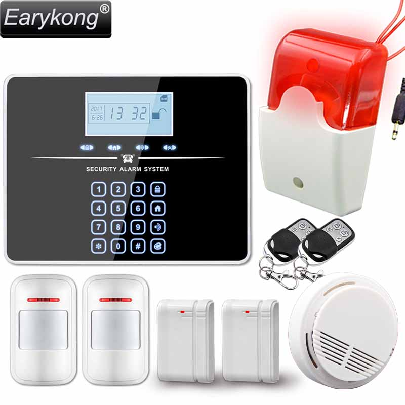 New Earykong PSTN GSM Alarm System, For home burglar alarm system, Support 433MHz wireless detector, touch keyboard etiger gsm pstn intruder alarm system for home office wifi network camera ir beam detector 100m