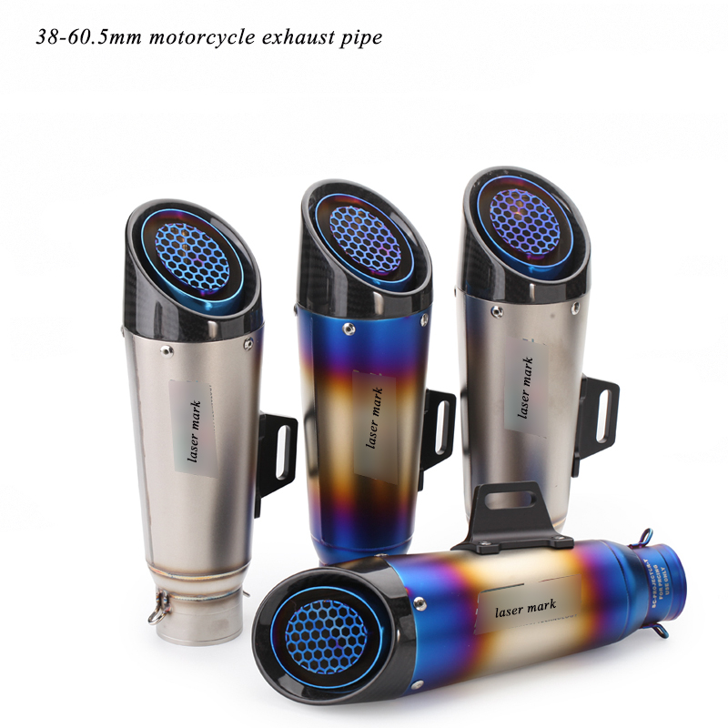Moto Exhaust Muffler Tip Pipe Silp On Modified 38 60 5mm Universal Motorcycle Stainless Steel Silencer