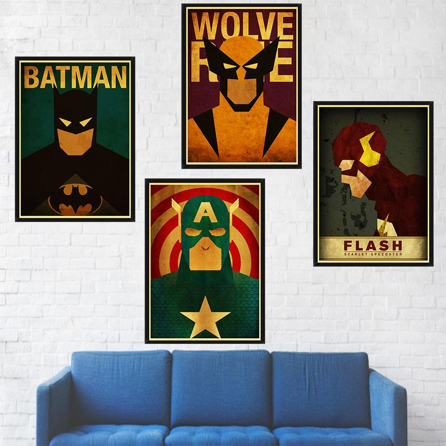 Superhero Avenger Marvel Comics Cartoon Painting Retro Kraft Paper Print Poster Picture Wall Decorative Art Painting Poster
