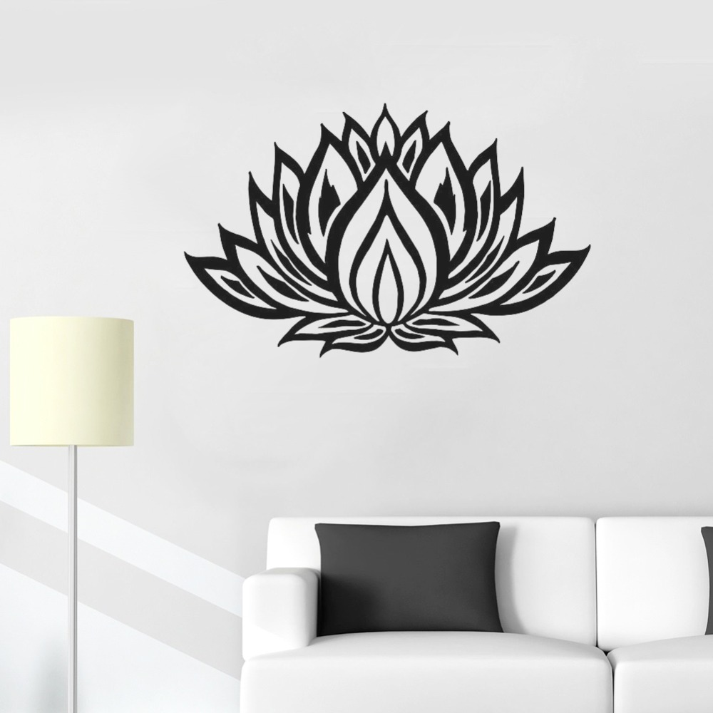 Living Room Yoga Studio Coogee: Lotus Wall Sticker Yoga Decal Om Mandala Flower Vinyl