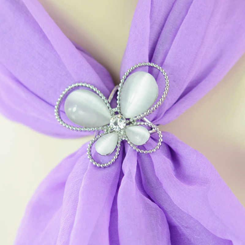Baru Fashion Korea Perhiasan Kristal Batu Mata Kucing Bros Syal Pengurangan Kupu-kupu Bros Selendang Gesper Wanita Hadiah