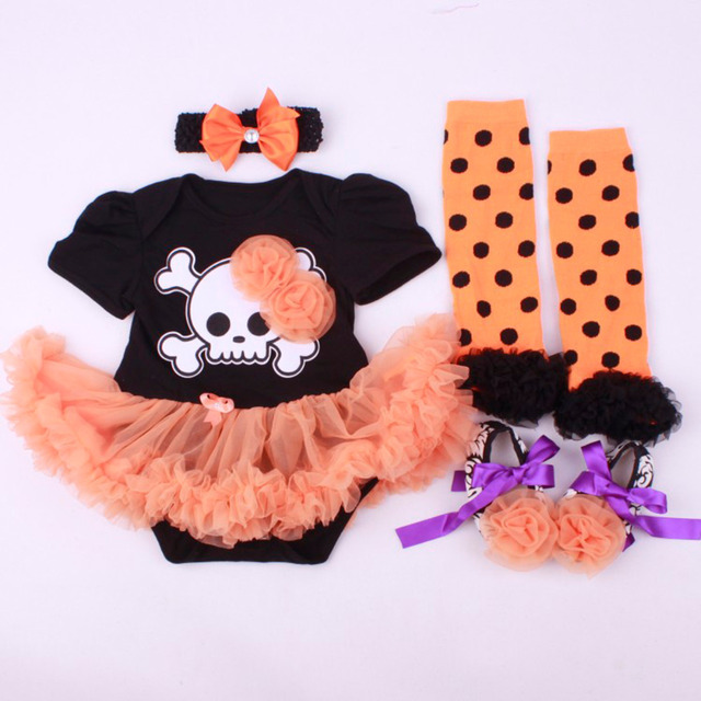 4PCs per Set Baby Girls' Halloween Lace Flower Skull Tutu Dress Infant Costume Outfit Headband Shoes Leg Warmers
