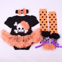 4PCs per Set Baby Girls' Halloween Lace Flower Skull Tutu Dress Infant Costume Outfit Headband Shoes Leg Warmers