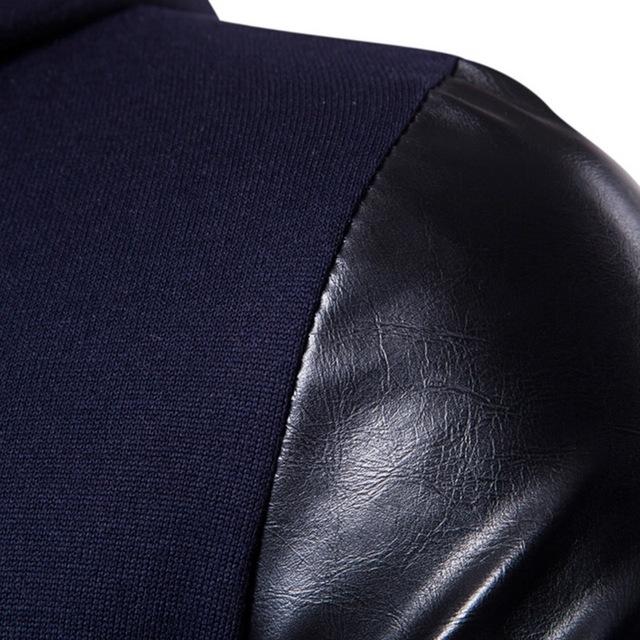 HEFLASHOR 2018 New Fashion Patchwork Sweatshirts PU Leather Long Sleeve Design Casual Long Men's Cardigans Slim Zipper Outwear